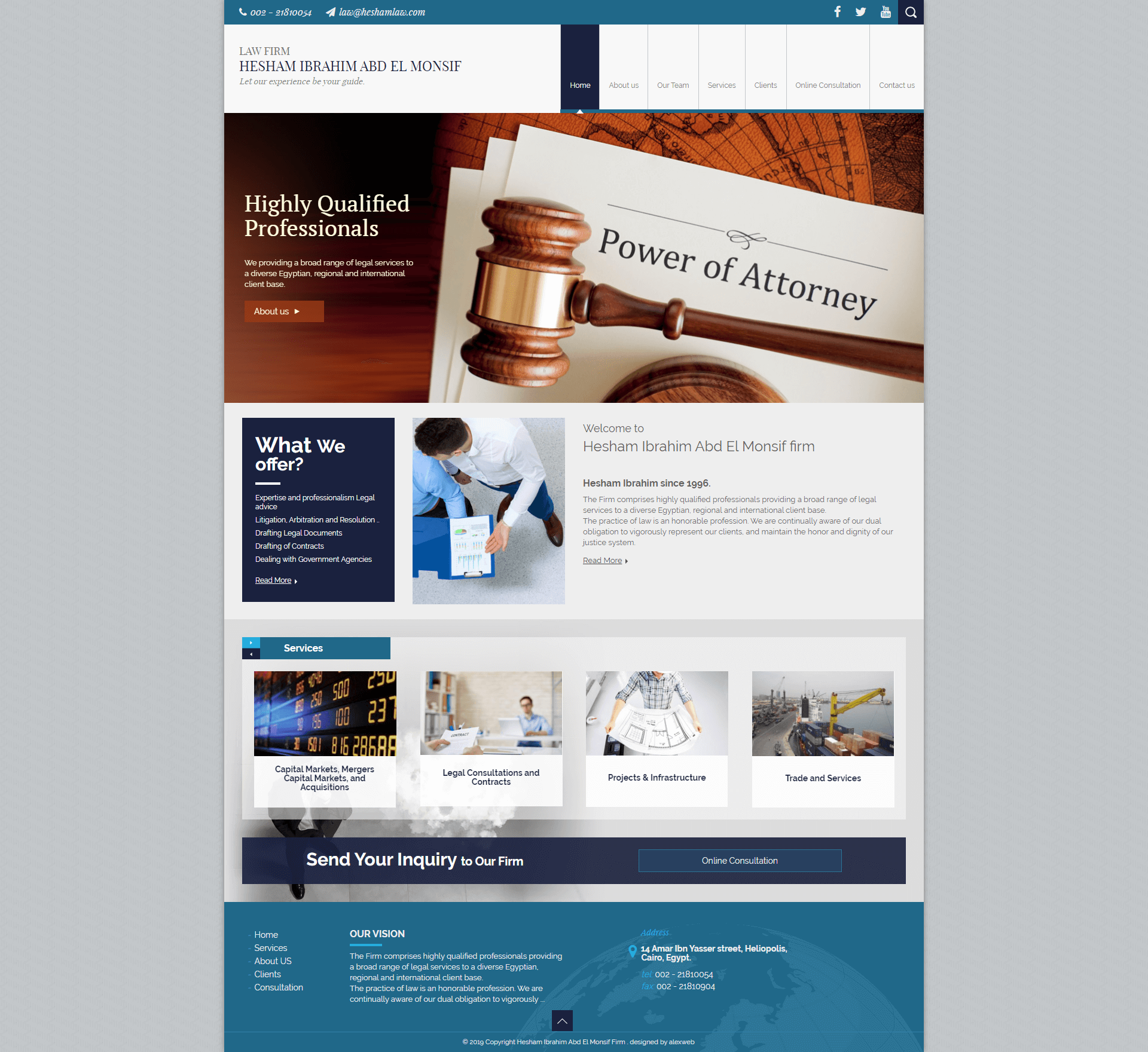 Alex Web Design and development company clients in Egypt Hesham Ibrahim Law Firm